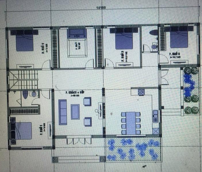 biệt thự mái ngói 1 tầng hiện đại mặt bằng nhà 4 phòng ngủ