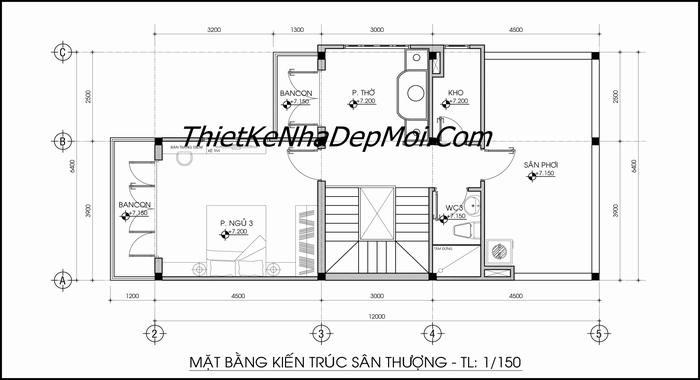 mat bang san thuong nha pho 3 tang 2 mat tien dep