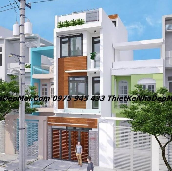 Nhà đẹp 1 trệt 2 lầu mặt tiền 4m phong cách hiện đại