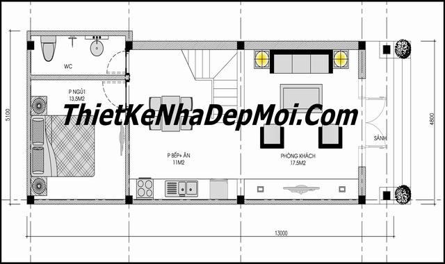 Mặt bằng nhà phố tân cổ điển 2 tầng 5x14m