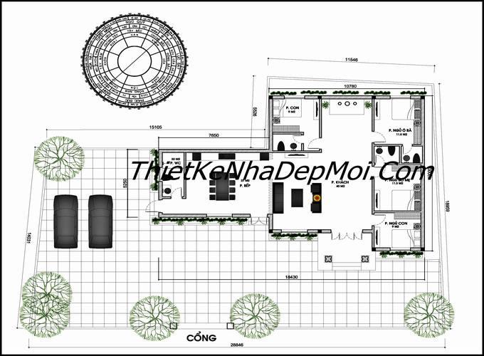 Mặt bằng nhà cấp 4 phòng ngủ mái thái