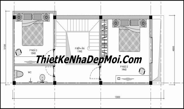 Mặt bằng nhà ống 2 tầng 3 phòng ngủ tân cổ điển 5x13