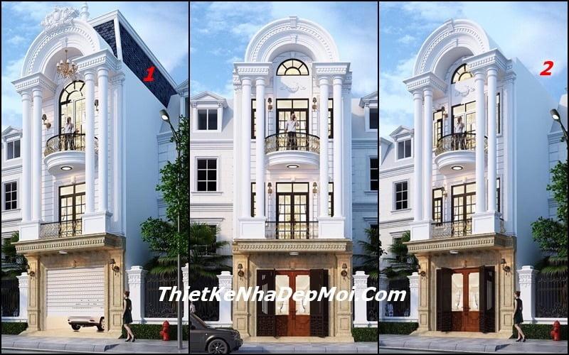 Mẫu nhà mặt tiền 5m đẹp 2 tầng tân cổ điển