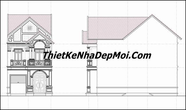 bản vẽ xây nhà biệt thự mini 2 tầng ngang 7m có gara