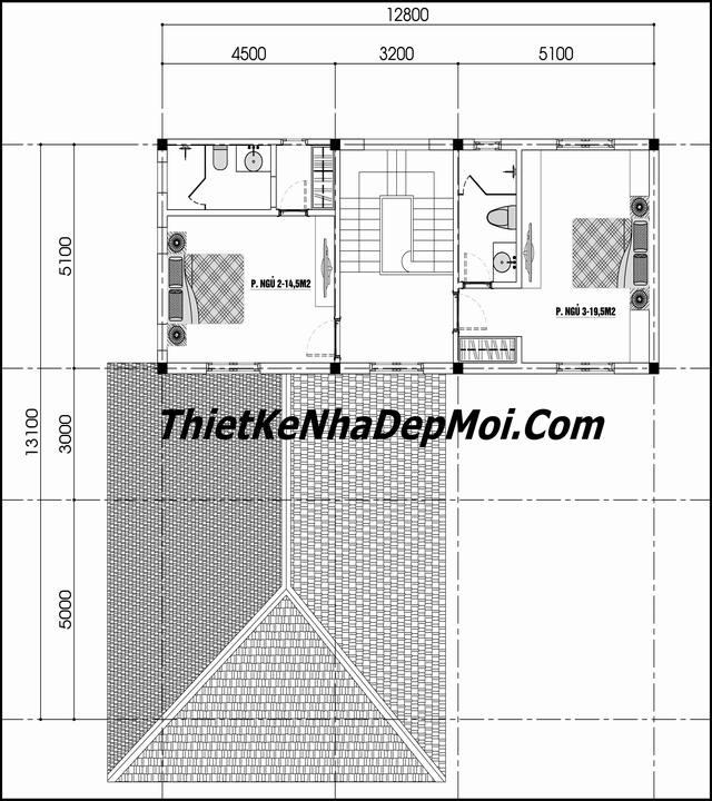 bản vẽ thiết kế nhà 2 tầng 100m2 đơn giản 3 phòng ngủ tầng lầu