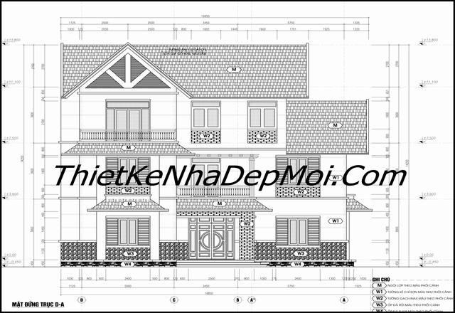 Bản vẽ xây nhà mái thái 3 tầng đơn giản ở nông thôn