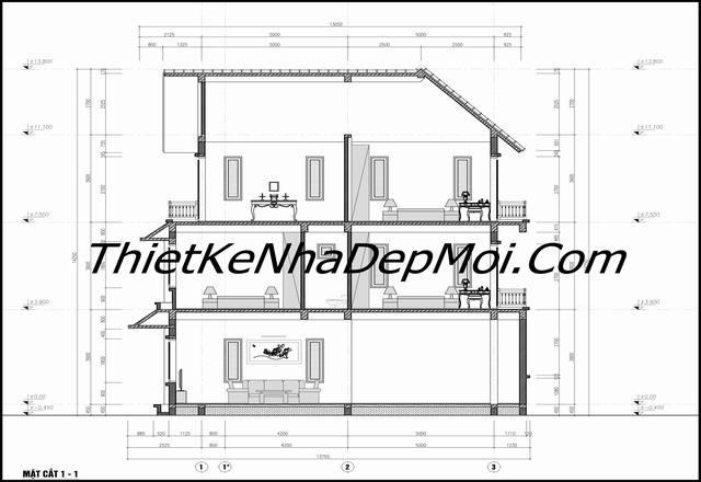 Bản vẽ xây nhà 3 tầng mái thái giá rẻ
