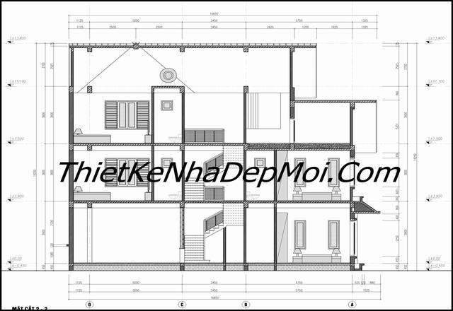 bản vẽ xây nhà mái thái 1 trệt 2 lầu đơn giản nông thôn