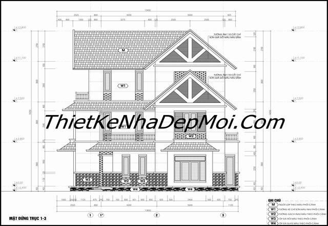 Bản vẽ xây nhà vườn hình chữ L 3 tầng