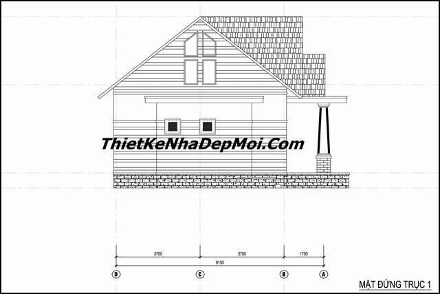 bản vẽ xây nhà cấp 4 130m2 3 phòng ngủ ở quê