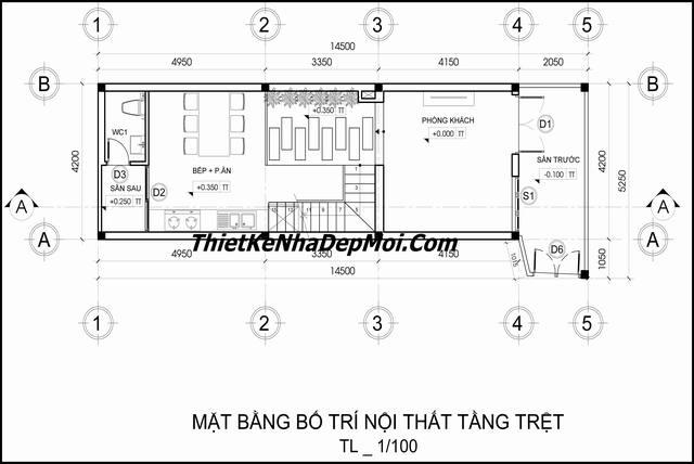 Bản vẽ nhà 1 trệt 2 lầu 1 sân thượng
