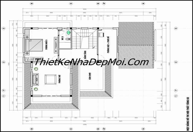Thiết kế nhà ở 130m2 mái thái 3 tầng đơn giản ở quê