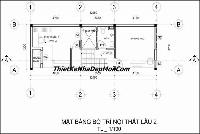 Bản vẽ nhà 1 trệt 2 lầu có sân thượng 4x12
