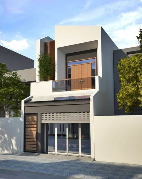 Mẫu nhà lệch tầng đẹp 5m 1 trệt 1 lầu có gara trong nhà 5×20 mặt tiền hiện đại