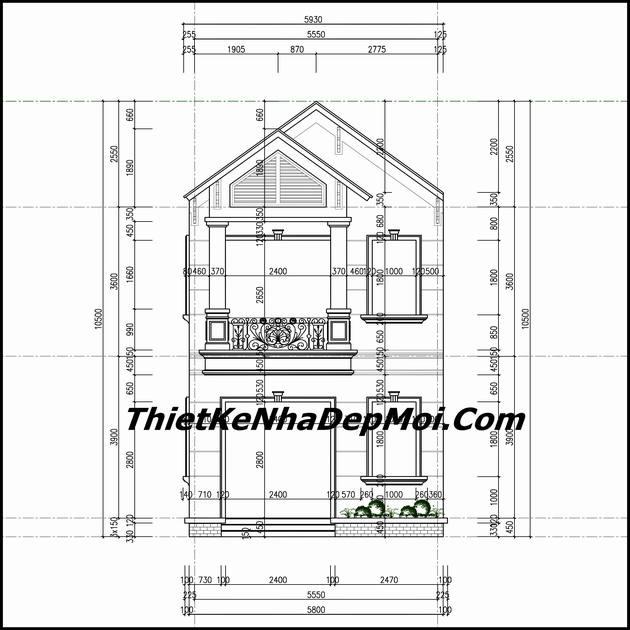 Bản vẽ thiết kế nhà phố hai tầng mái ngói