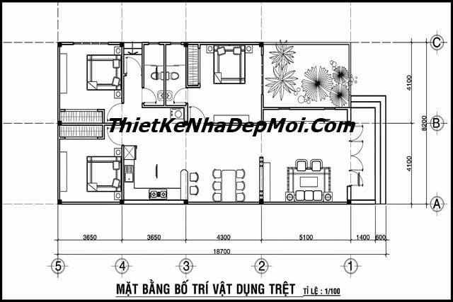 Nhà cấp 4 hình chữ L ngang 8m mái bằng