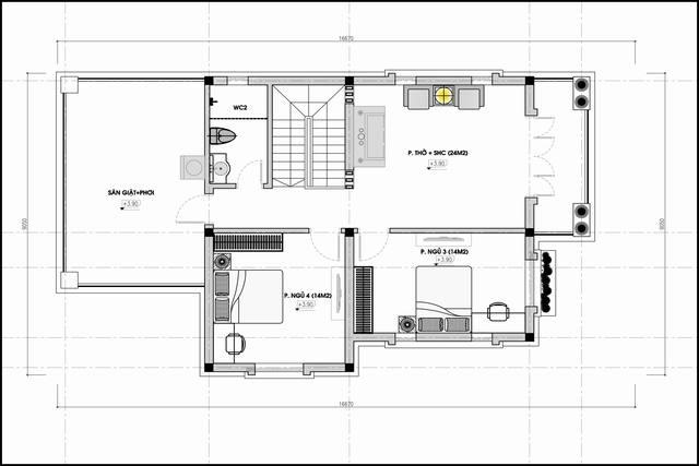 Mặt bằng nhà vườn 1 trệt 1 lầu 4 phòng ngủ