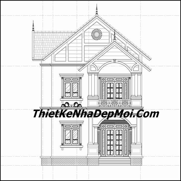 Mặt đứng bản vẽ nhà mái thái một trệt một lầu