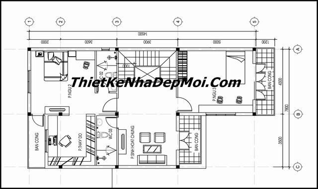 Bản vẽ thiết kế biệt thự mini trên diện tích 100m2 2 tầng 4 phòng ngủ