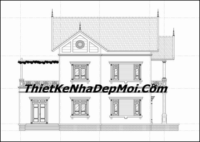 Bản vẽ nhà 2 tầng 4 phòng ngủ 140m2