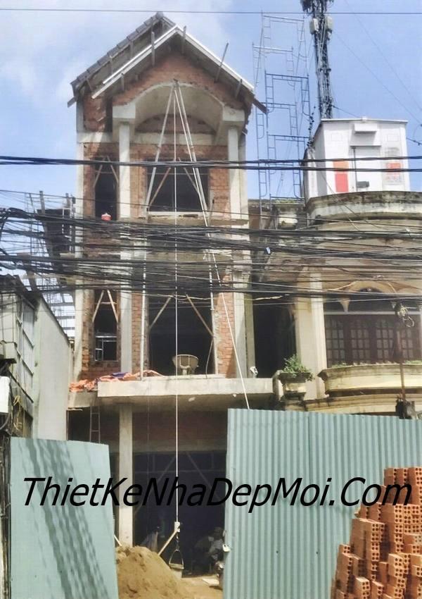xây nhà lô phố cổ điển rộng 5m phần thô