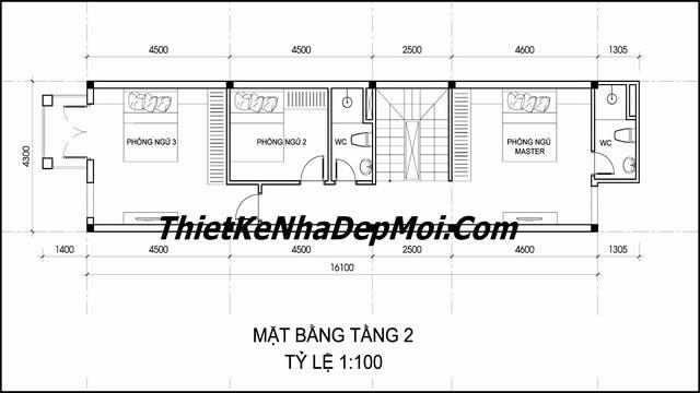 Mặt bằng lầu 1 nhà ống 3 tầng kiểu pháp mái thái ngang 4.3m