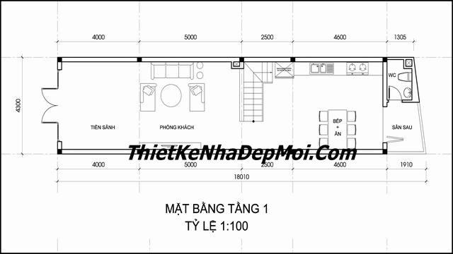 Mặt bằng tầng trệt nhà phố mái thái 3 tầng rộng 4,3m TPHCM