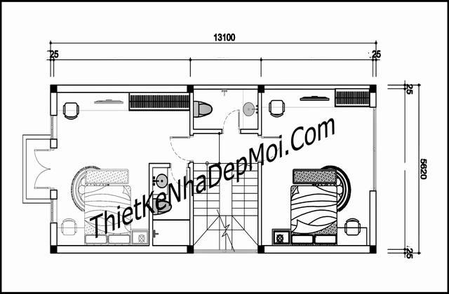 Bản vẽ nhà mặt phố 5.5m mái thái