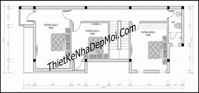 Mặt bằng nhà 2 tầng 4 phòng ngủ 5x16