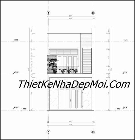 Bản vẽ mặt đứng nhà 2 tầng 3 phòng ngủ ngang 5m