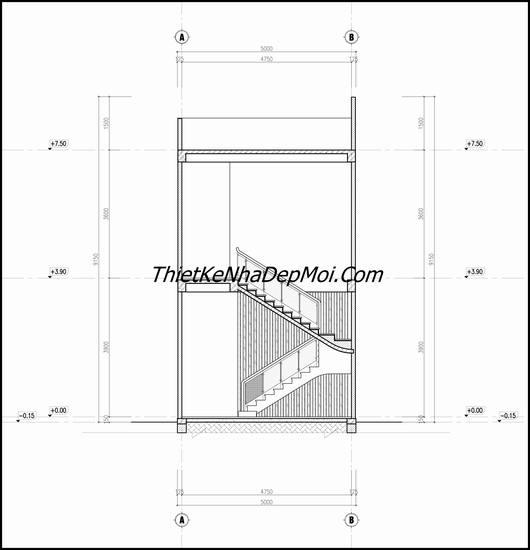 Bản vẽ bố trí cầu thang nhà ống 5x18m