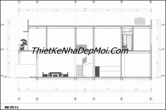 Bản vẽ thiết kế nhà ống đẹp 2 tầng 5x18 kỹ thuật thi công mặt cắt 2-2