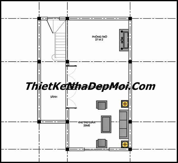 Bản vẽ tầng lửng phóng to mẫu nhà 1.5 tầng ở nông thôn mới