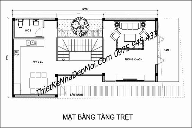 mat bang nha pho 3 tang dep 6,4m x 14,2m o hoc mon