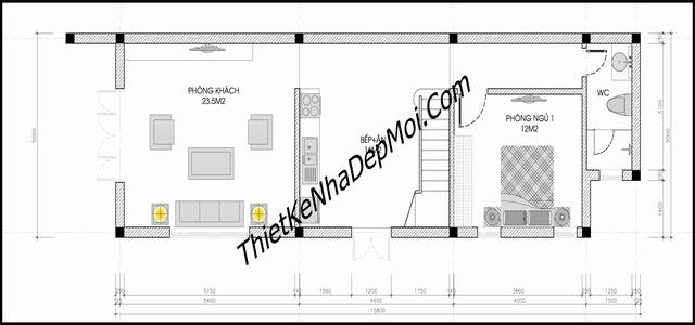 Nhà 2 tầng đơn giản ở nông thôn 85m2