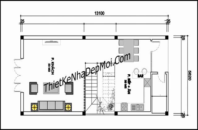 Bản vẽ nhà 3 tầng 70m2 rộng 5.5m