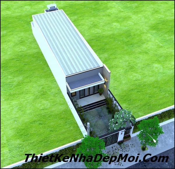 nhà cấp 4 đẹp 5x20 mái tôn có sân