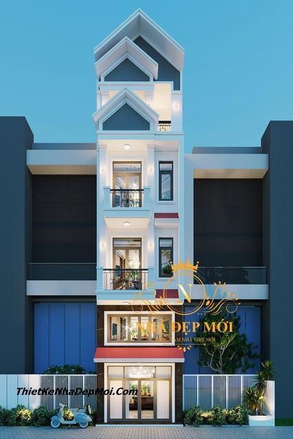 Nhà phố 1 trệt 1 lửng 3 lầu sân thượng
