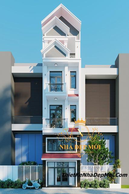 Nhà 1 trệt 1 lửng 2 lầu 1 sân thượng mái thái