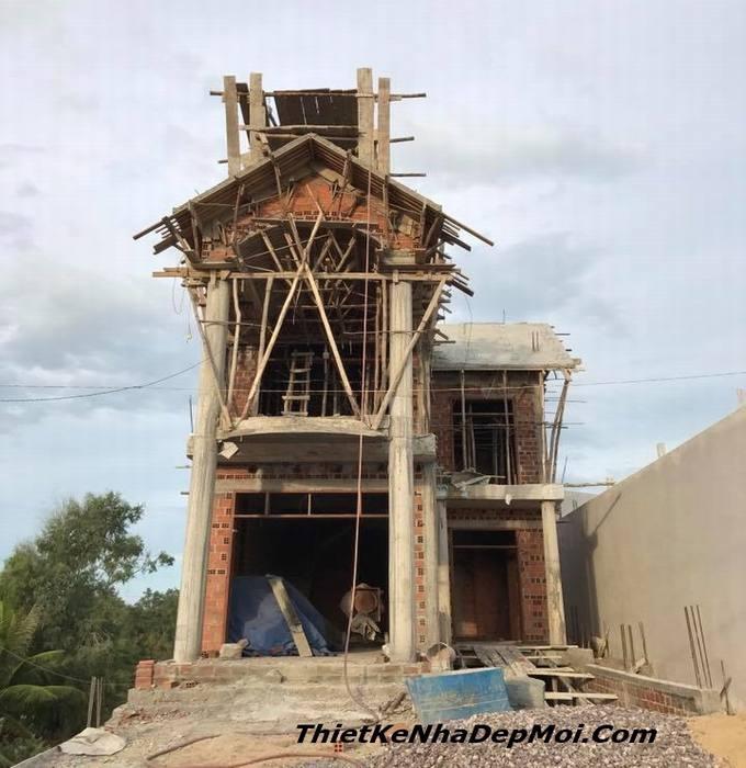 xây nhà đẹp Bình Định Quy Nhơn biệt thự 1 trệt 1 lầu mini