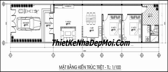 Bản vẽ nhà 5x20 1 tầng có gara