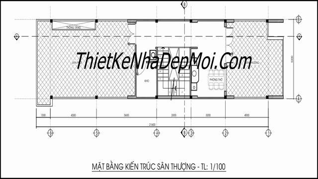 Bản vẽ nhà ống 2.5 tầng mái bằng kinh doanh