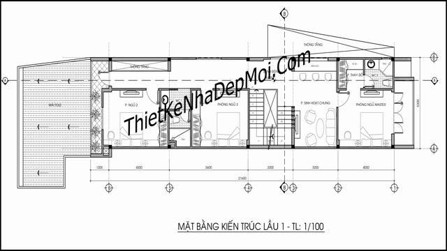 Bản vẽ xây nhà ống 1 trệt 2 lầu 3 phòng ngủ 5x17