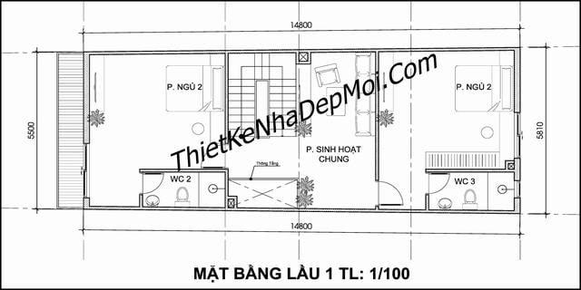 mat bang nha pho 5x15 no hau 6m 3 tang 5m