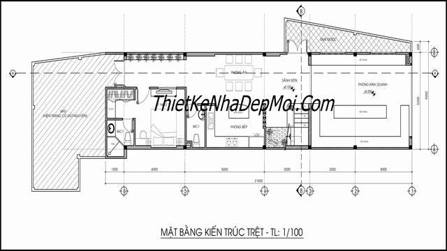 Thiết kế nhà ống kinh doanh tầng trệt 2020