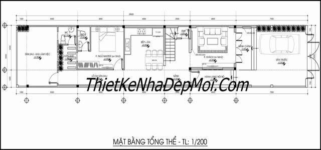 mặt bằng nhà phố 5x20m1 trệt 1 lầu mái lệch đơn giản