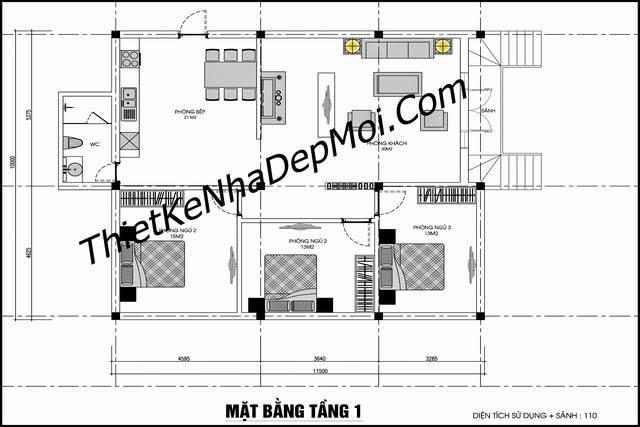 Thiết kế nhà sàn 3 phòng ngủ 1 phòng thờ