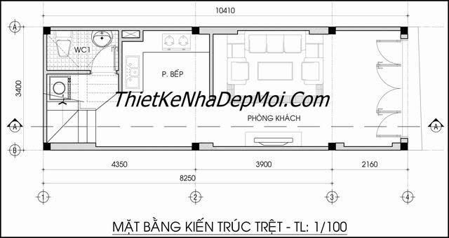 Mặt bằng nhà 3.5x10m