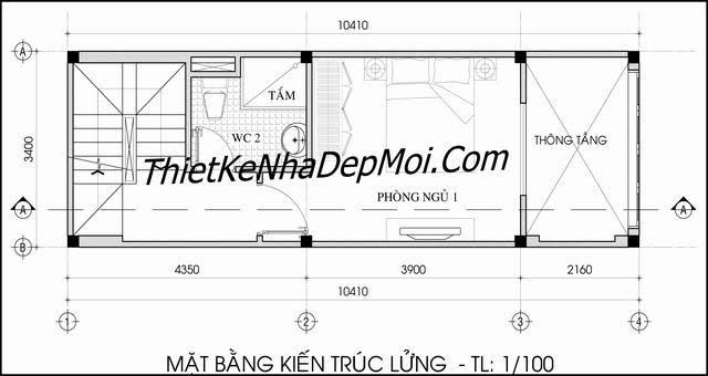 Thiết kế nhà rộng 3.5m dài 10m
