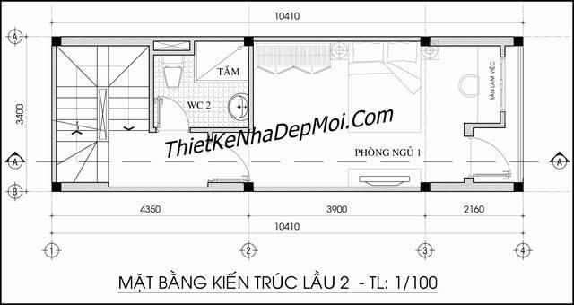 Bản thiết kế nhà ống 4 tầng 3.5m